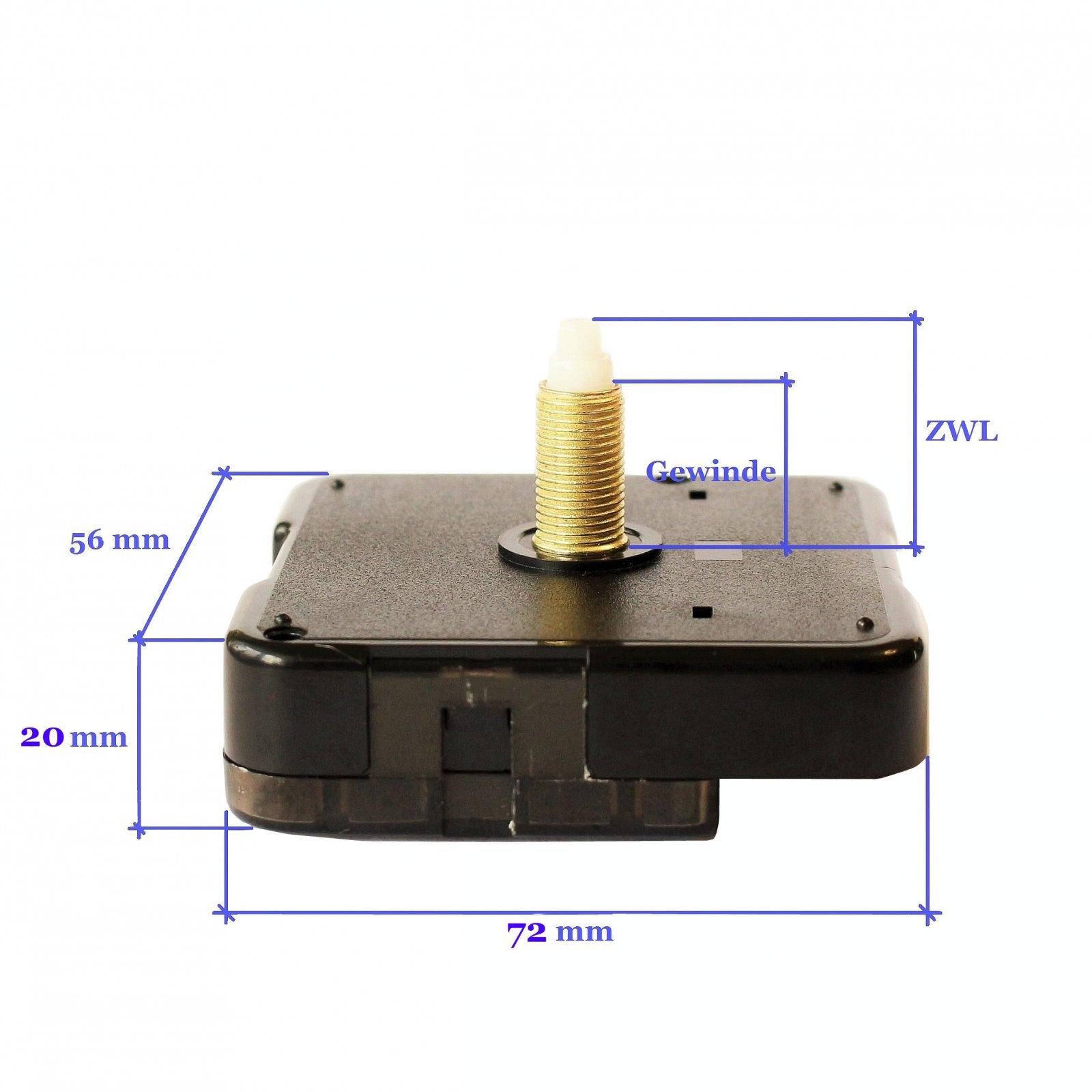 Funkuhrwerk DCF lautlos geräuschlos Leuchtende Uhrzeiger Satz Silber 150 mm #277
