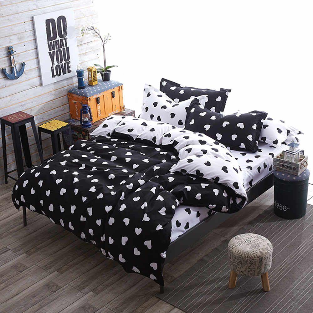 3 tlg bettw sche bettbezug bettgarnitur 155 x 200 cm herze schwarz weiss liebe ebay. Black Bedroom Furniture Sets. Home Design Ideas