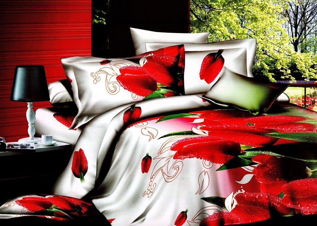 3 Tlg 3d Bettwäsche Bettbezug Bettgarnitur 155x200 Cm Tuple Rot