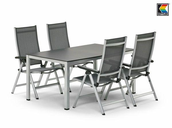 1 Tisch 140x95 cm und 4 Klappsessel KETTLER Sylt Gartenmöbel in ...