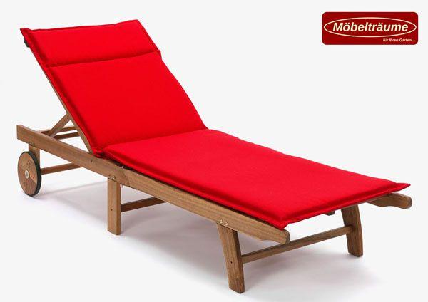 auflagen f r liegen 190 x 63 x 4 cm kuba 50234 310 in uni rot liegenauflagen ebay. Black Bedroom Furniture Sets. Home Design Ideas