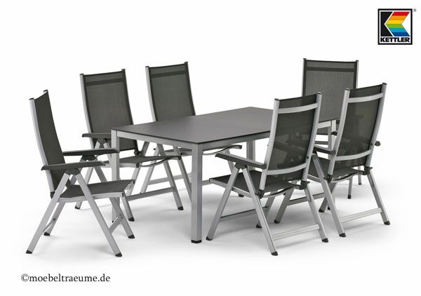 exklusives kettler gartenm bel set 1 tisch 160 cm und 6 sessel in silber anthr ebay. Black Bedroom Furniture Sets. Home Design Ideas
