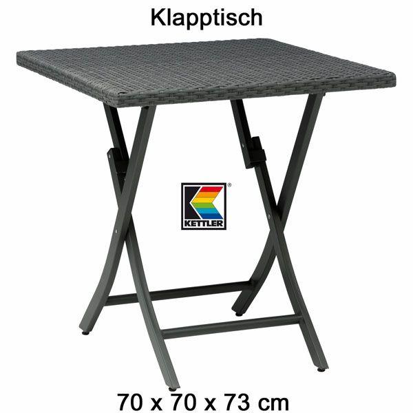 KETTLER Klapptisch 70 x 70 cm Geflechttisch Aluminium und Geflecht ...