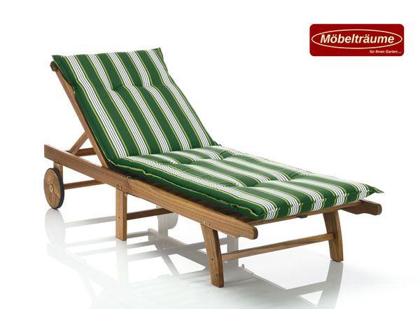 auflagen f r liegen 190 cm lang 6 cm dick rio 20581 200 gr n wei gestreift ebay. Black Bedroom Furniture Sets. Home Design Ideas
