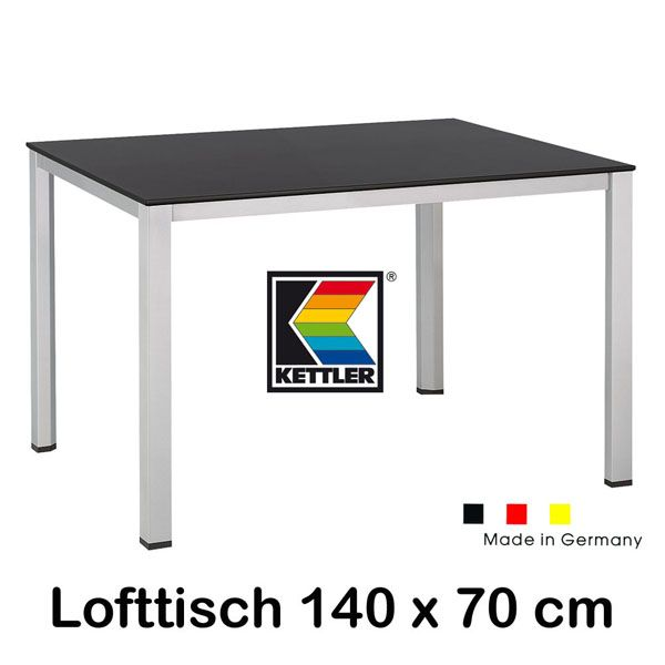 kettler gartentisch 140 x 70 cm balkontisch 0301818 0500 tisch silber anthrazit ebay. Black Bedroom Furniture Sets. Home Design Ideas