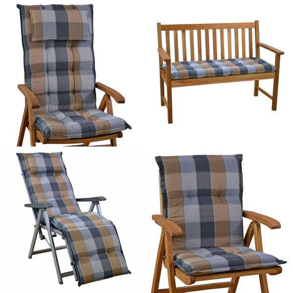 4 luxus auflagen mit kopfpolster 9 cm dick hochlehner stuhl kissen gartenpolster ebay. Black Bedroom Furniture Sets. Home Design Ideas