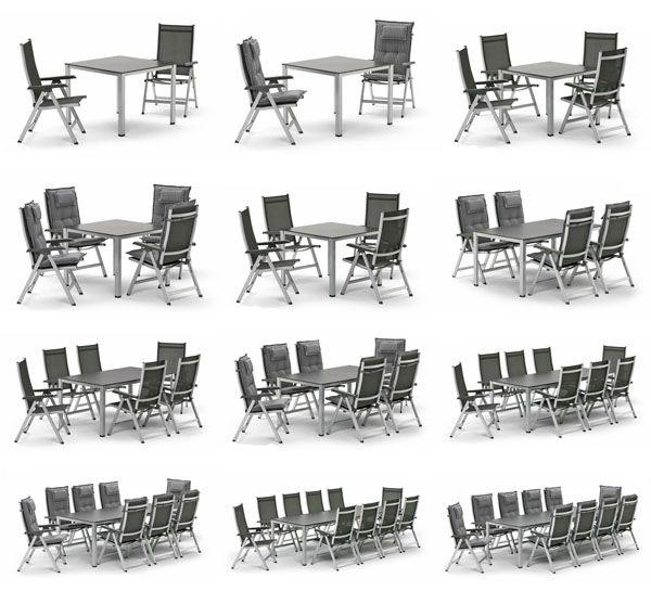 Kettler BASEL Gartenmöbel 16 Sets zur Wahl bis zu 10 Sessel Tisch ...