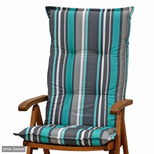 2 luxus auflagen f hochlehner 120 cm lang 8 cm dick grau blau sitzkissen kissen ebay. Black Bedroom Furniture Sets. Home Design Ideas