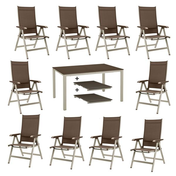 kettler basic plus gartenm bel 1 ausziehtisch 279 cm und 10 klappsessel in mocca ebay. Black Bedroom Furniture Sets. Home Design Ideas