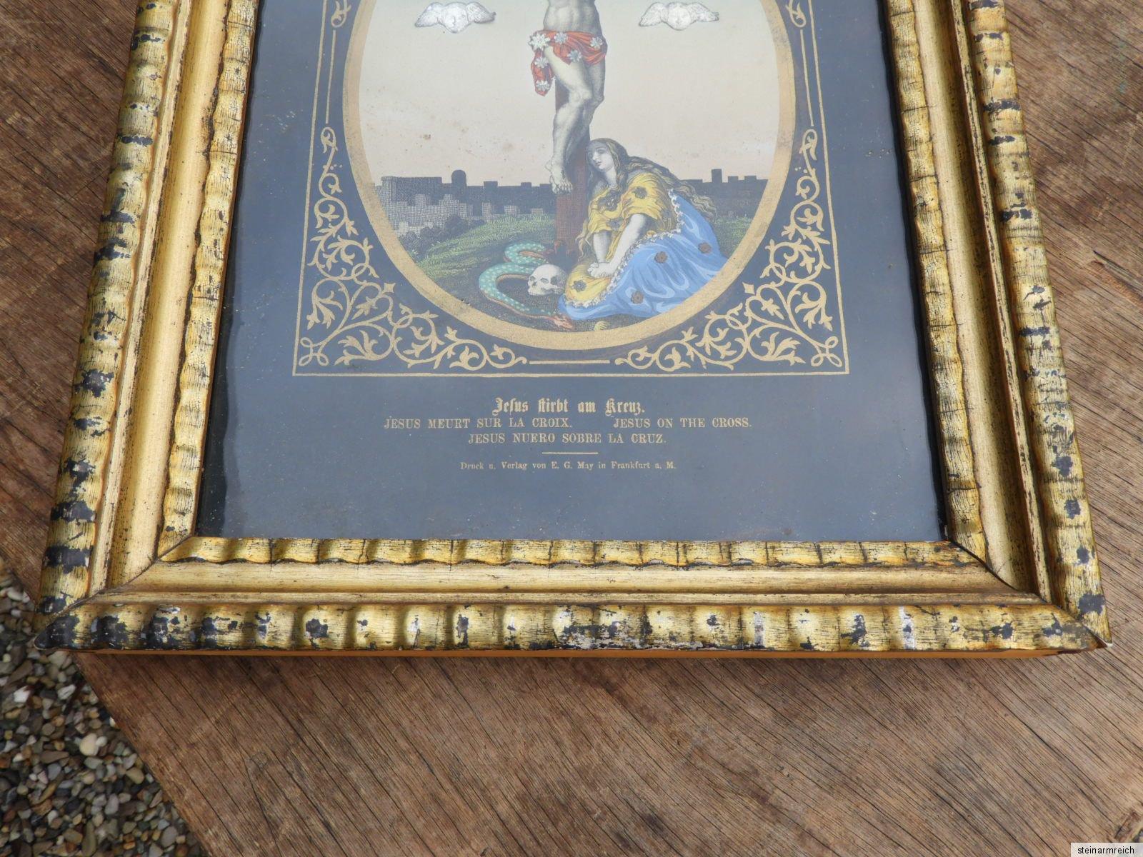 GüNstig Einkaufen C.1870 Jesus Christus Am Kreuz Heiligenbild Berliner Leiste Waschgoldrahmen May Antike Originale Vor 1945 Votivbilder & Sakralmalerei