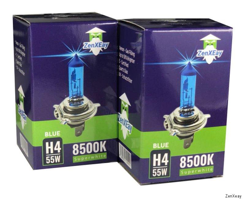 h4 xenon auto lampe 8500k 55w 12v look super white blue. Black Bedroom Furniture Sets. Home Design Ideas