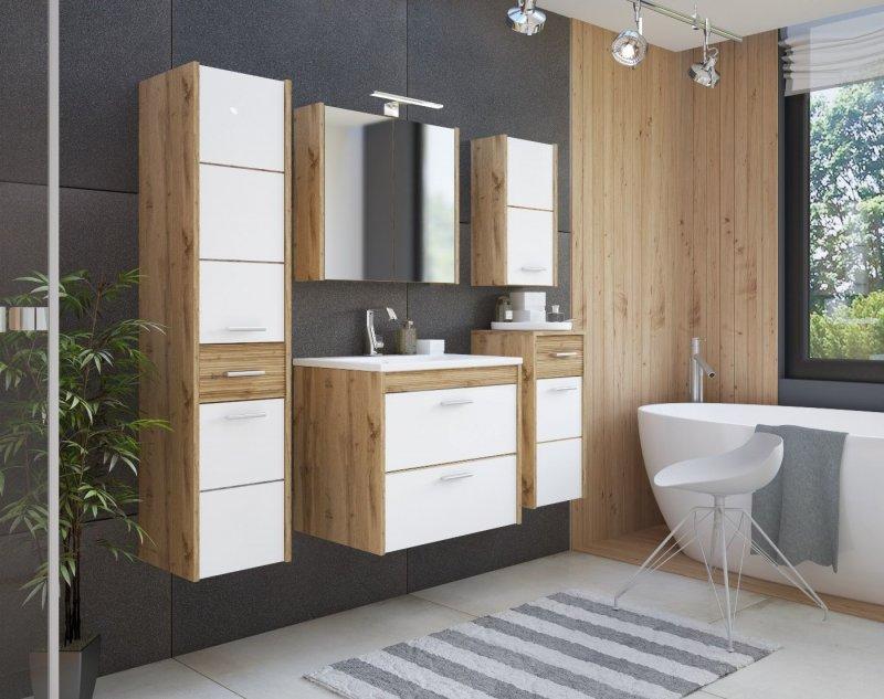badm bel set ibiza 60 mit waschbecken keramik eiche votan weiss hochglanz led ebay. Black Bedroom Furniture Sets. Home Design Ideas
