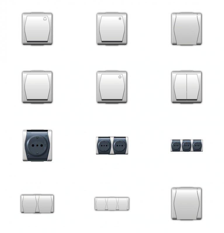 ip44 aufputz schalter steckdose feuchtraum schuko hermes 2 au enbereich ebay. Black Bedroom Furniture Sets. Home Design Ideas
