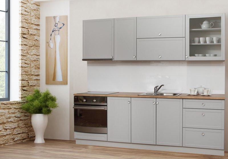 Komplett Küche 240 cm Schränke MALTA 240 GRAU MATT | eBay