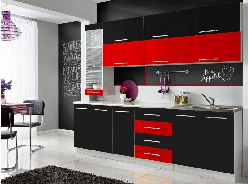 komplette k che moni s 260 cm verschiedene farbkombinationen hochglanz neu ebay. Black Bedroom Furniture Sets. Home Design Ideas