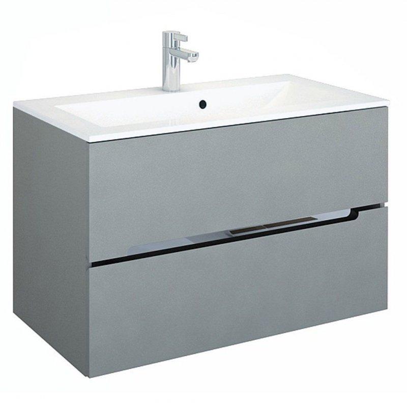badm bel set silver grau 90 mit waschbecken spiegelschrank mdf led ebay. Black Bedroom Furniture Sets. Home Design Ideas