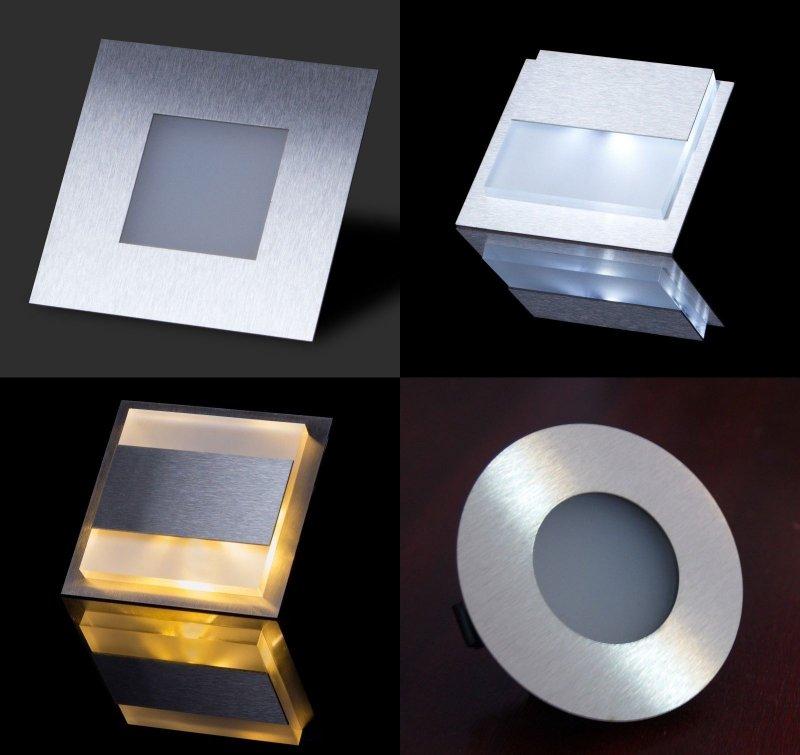 Edelstahl !!! Kalt weiß LED SMD 2W Treppen oder Wandbeleuchtung 230V