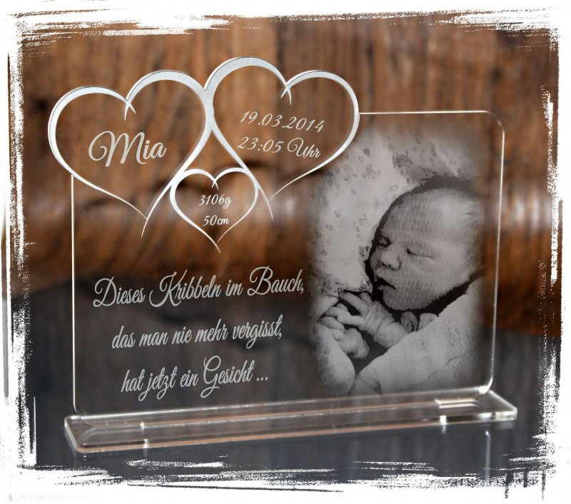 Gravur Foto + Text - Taufe // Geburt // Hochzeit 1 Aufsteller Acrylglas inkl