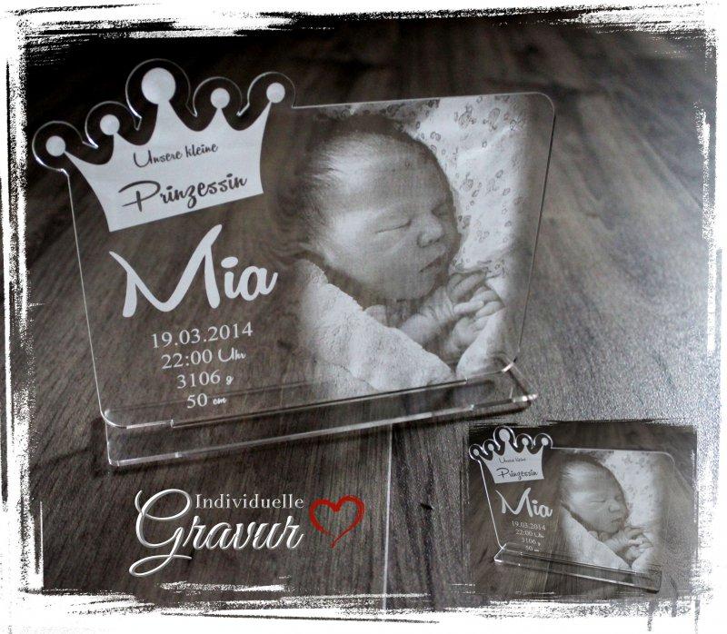 Gravur - Taufe // Geburt // Hochzeit D2 1 Aufsteller Acrylglas inkl Foto + Text