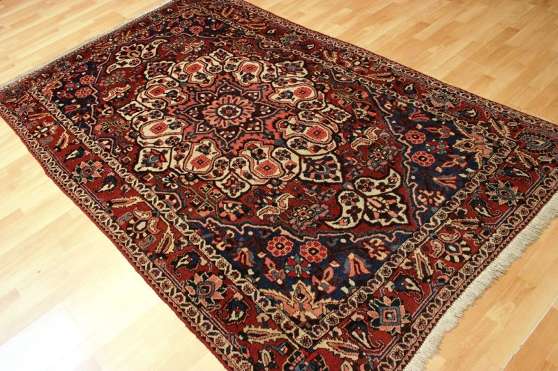 antiker garten rosen bachtiar orient teppich heriz old rug 260x158cm 0347 ebay. Black Bedroom Furniture Sets. Home Design Ideas