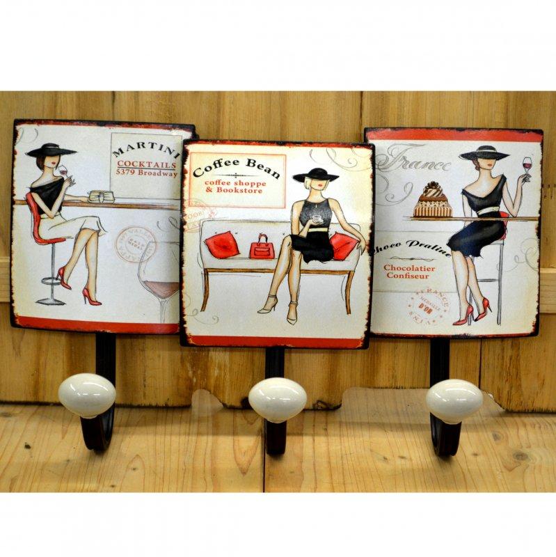 garderobenhaken wandhaken shabby chic retro nostalgie antiklook neu ebay. Black Bedroom Furniture Sets. Home Design Ideas
