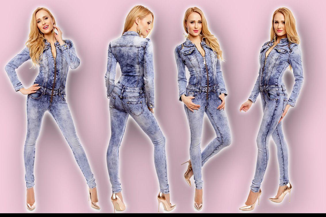 Jeans Overall Denim Jumpsuit Xs-xl Blau Hose Jacke Röhre Skinny Langarm Lang 006 Kleidung & Accessoires