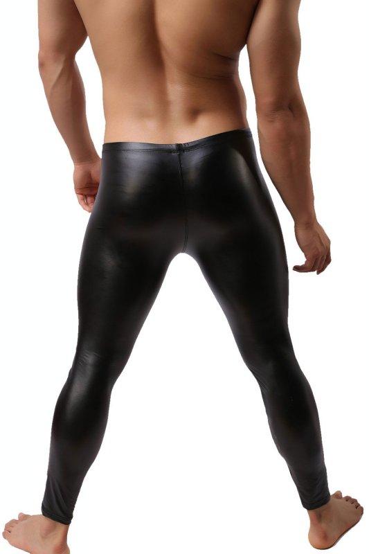 Herren Leggings Leder Optik Lange Hose Wetlook Clubwear