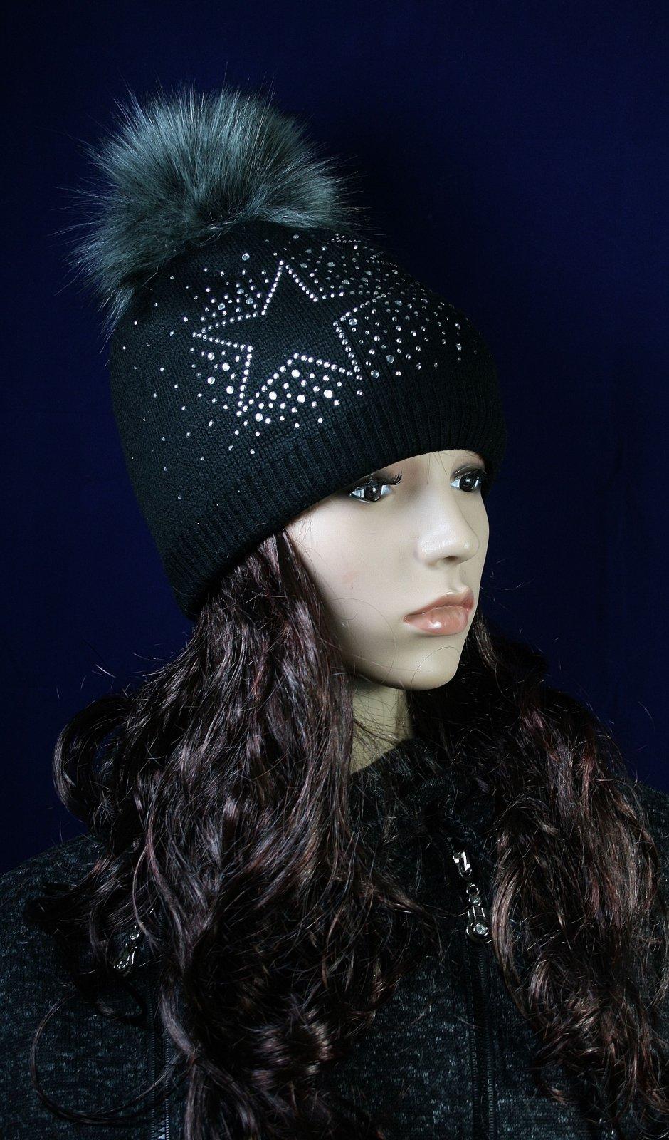 Glitzer Sterne Mütze Wintermütze Damenmütze Fleecemütze mit Kunstfellbommel