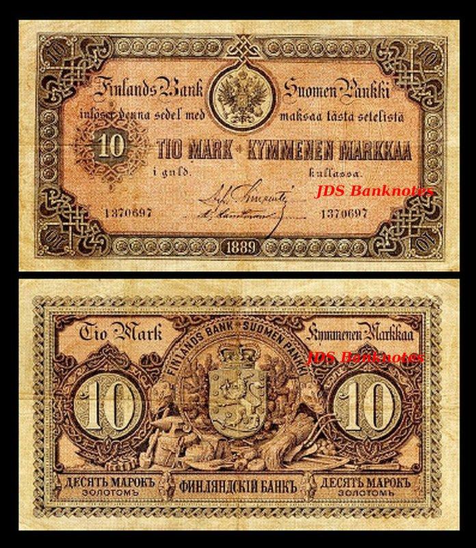 10 Finnish Markka 8 Banknotes 30 3 2x 1 Issue 1866-1875 5