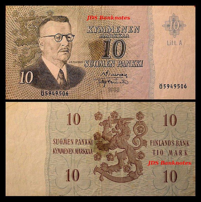 8 Banknotes 2x 5,10,50,100 Finnish Markka A 07 Issue 1963 Litt