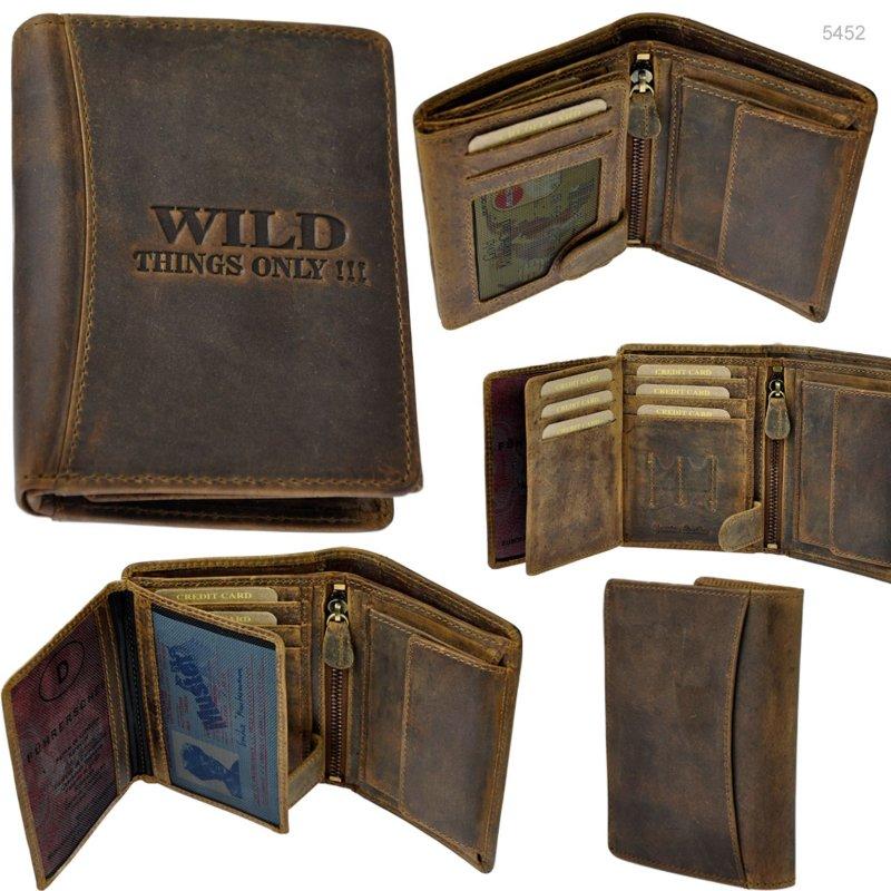 AMARI Geldbörse RFID-Schutz robustes Rindleder Portemonnaie Geldbeutel Herren