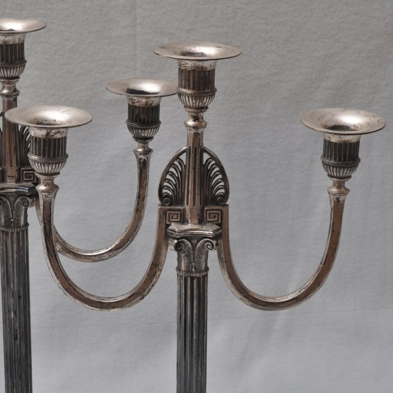 Orivit Art Nouveau Large Candlestick Pair3 Lights Candle Holder