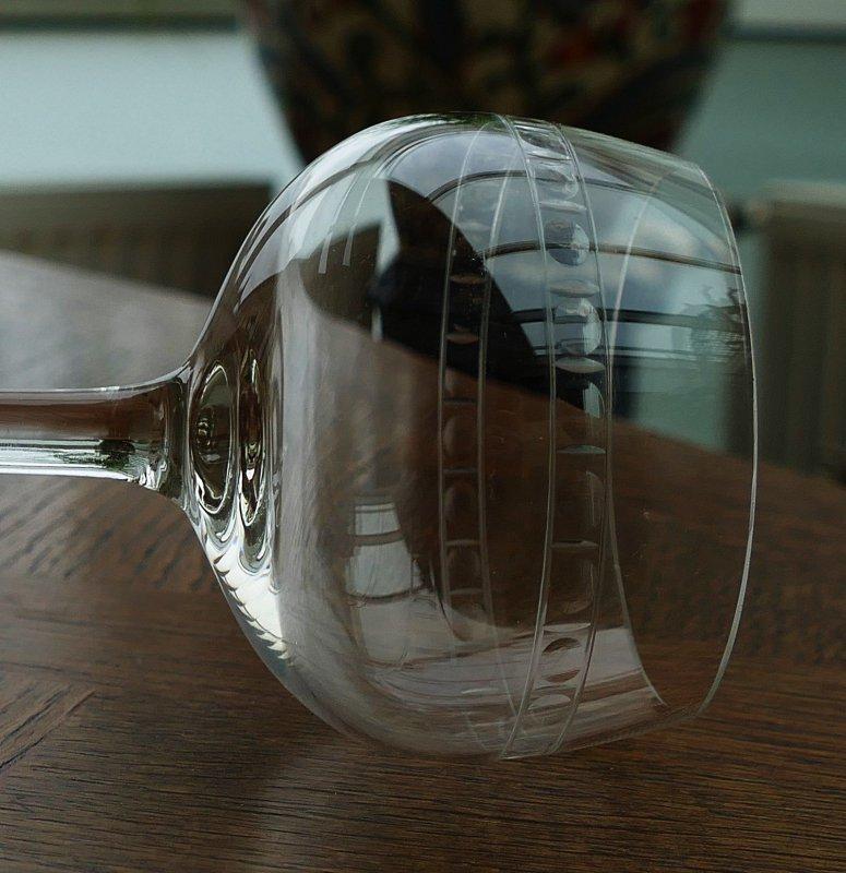 Art Deco Kristall Weisswein Rotweinglas um 1930 geschliffenes Uranglas !!