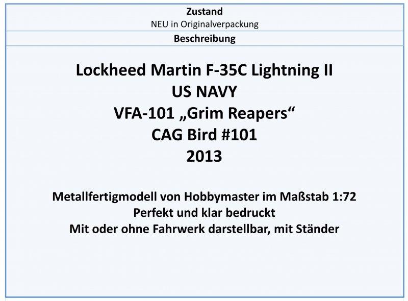 "Hobbymaster 1:72,NEU 4//19 /& 2013 HA6201 F-35C US NAVY VFA-101 /""Grim Reapers/"""
