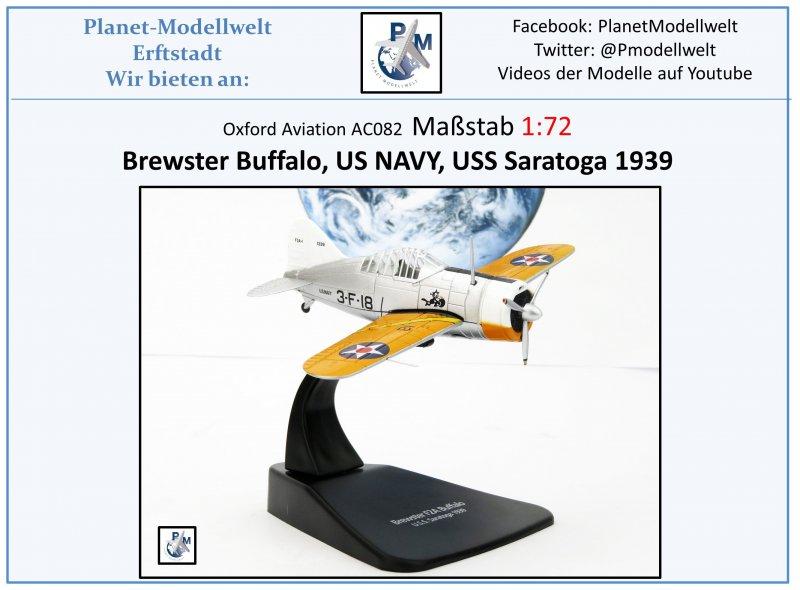AC082 Brewster Buffalo US NAVY VF-3 USS Saratoga 1939 Oxford 1:72,NEU /&
