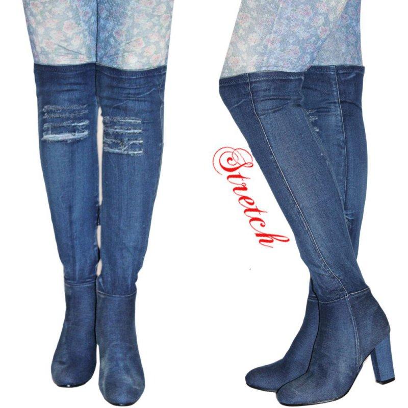 ca195b908eb69e STRETCH Coole Denim Jeans Stiefel Overknee Stiefel Used Look NEU Gr ...