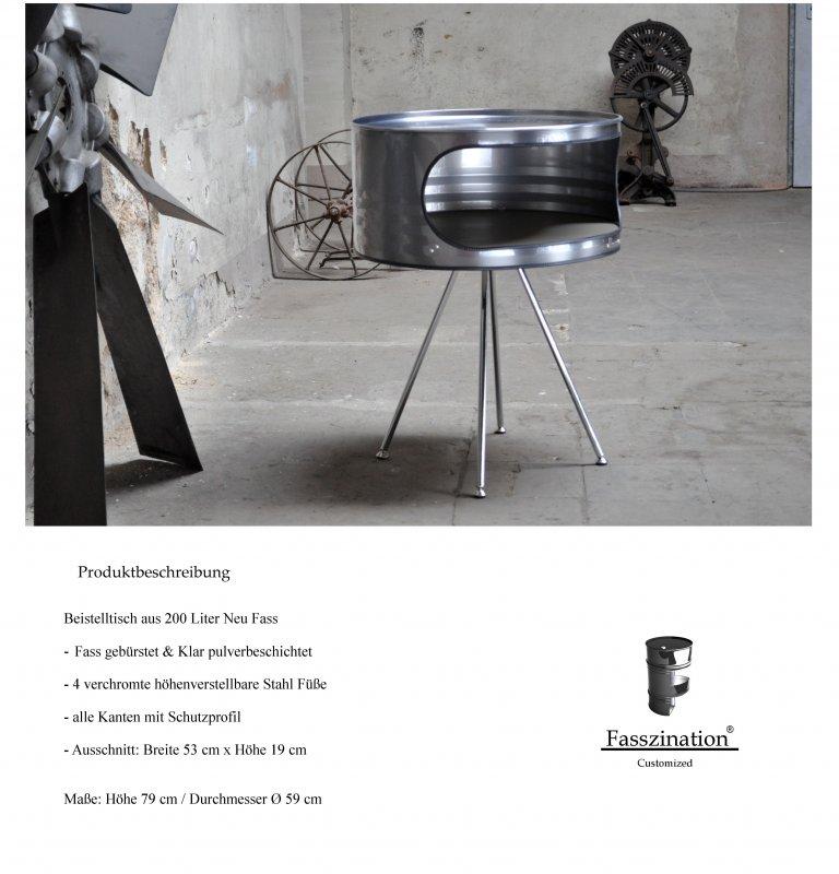 beistelltisch telefontisch aus 200 liter neu fass industrie tisch geb rstet ebay. Black Bedroom Furniture Sets. Home Design Ideas