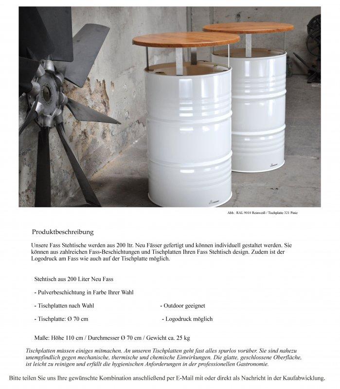 Details zu Stehtisch Bartisch Tresentisch aus 200 Liter Neu Fass Ölfass  Metallfass