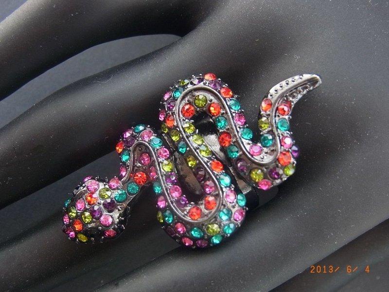 Ring Stretch Elastisch Elastikband Dehnbar Schlange Strass Multicolor Multi