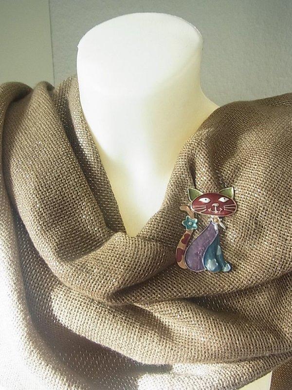 Brosche Magnetbrosche Schal Clip Bekleidung Poncho Taschen Stifel Textilschmuck Katze Blume Blau