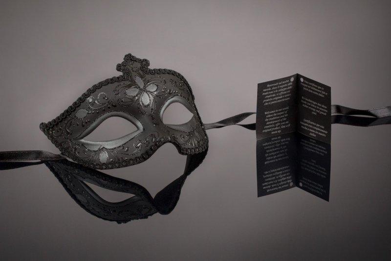 original venezianische Maske Augenmaske Karneval Handmade Fasching Schwarz