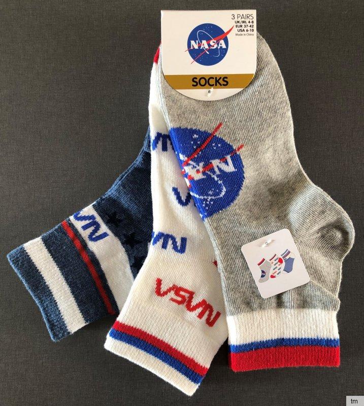 3 Paar NASA Logo Socken Damen Herren Strümpfe Space Apollo Mond Raumfahrt 37-42