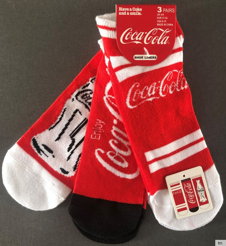 2 Pairs Ladies Stars and Stripes Patterned Novelty Cotton Rich Socks Coca Cola