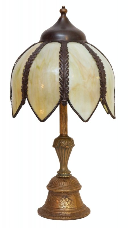 Romantic original art nouveau table lamp brass lamp india for Brass floor lamp india