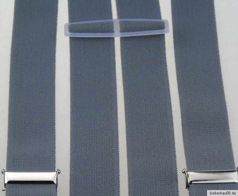 starke Hosenträger 35 mm breit 4 starke Clips Blau NEU !!!