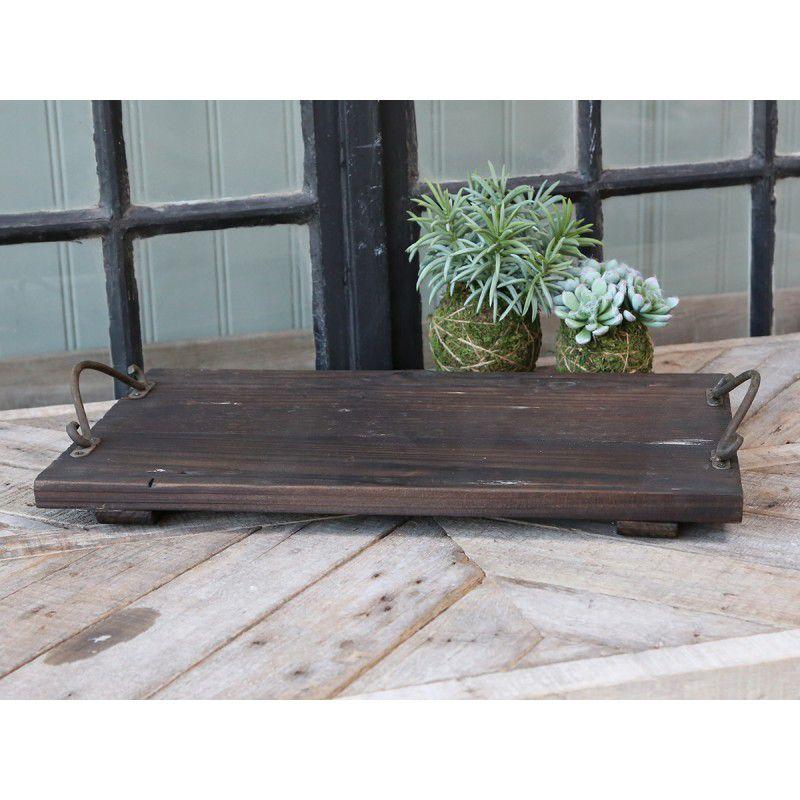 Maritimes Tablett aus Holz mit Tragegriffen