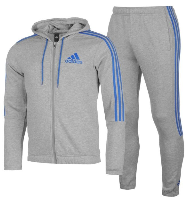 better low price sale on feet at Details about Adidas 3 Stripe Mens Tracksuit Tracksuit Jogging Suit Grey  Blue- show original title