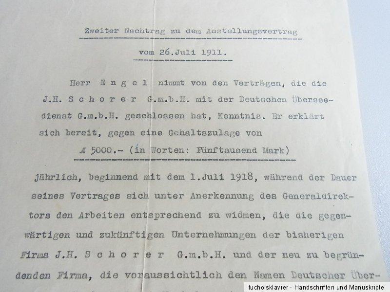 Otto Von Halem 1867 1940 Briefe Arbeitsvertrag 1913 28 Deutscher