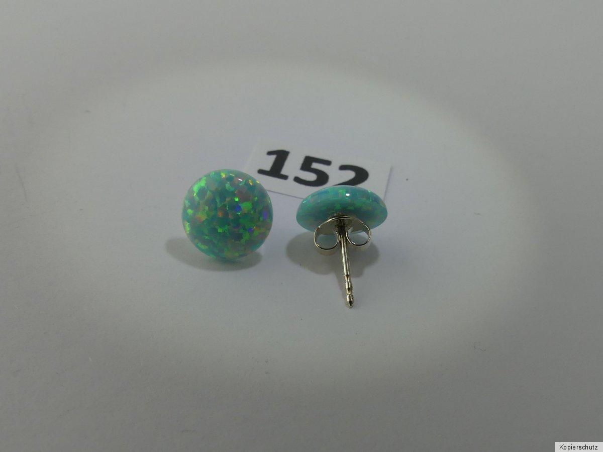 1x Paar Synthetischer Opal Ohrringe 12mm Durchm Farbe Weiß schimmernd 153