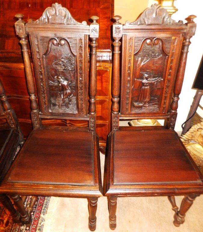 6x Chair Set Set Oak Castle Castle Royal Palace Seat